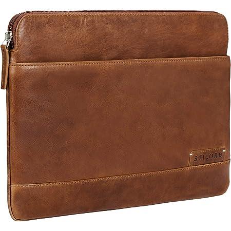 STILORD 'Robb' Funda de Piel Estilo Vintage para Tablet o MacBook de 14' y portátil de 13,3' Portafolio Bolso o Bolsa Protectora de auténtico Cuero, Color:Mocca - marrón Oscuro