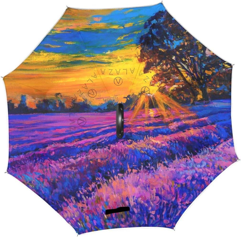 rodde Umbrella Vintage Oil Painting Flowe Lavender Floral Max 55% OFF Over item handling Sunset