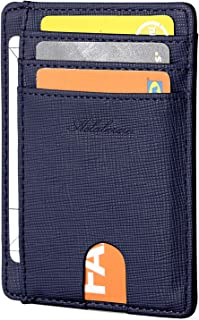 AslabCrew Slim Minimalist Front Pocket RFID Blocking Leather Wallets for Men Women