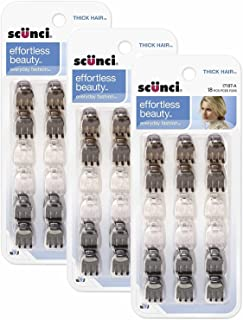 Scunci 1718703a048 Mini Thick Hair Jaw Clips 18 Count, Pack of 3
