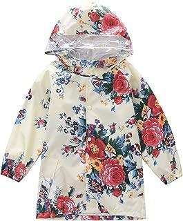 M2C Girls Floral Patterned Hooded Waterproof Raincoat