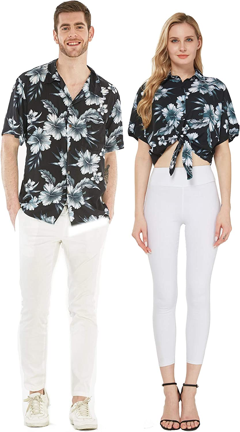 San Jose Mall Couple Matching Hawaiian Luau Cruise Shirts excellence Tie Front Outfit Mid