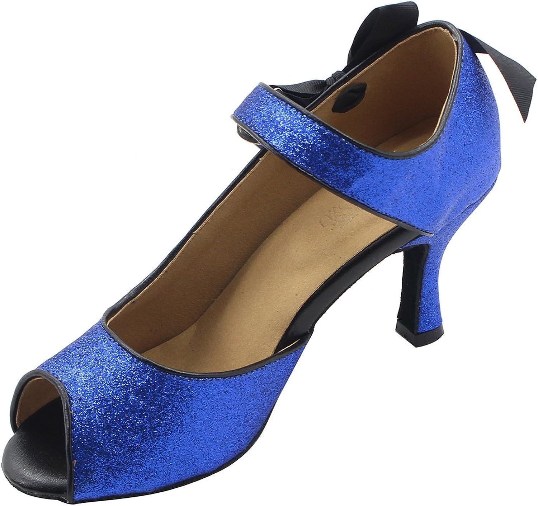MsMushroom Woman's Glitter Latin Dancing shoes With Bowknot 4  Heel bluee