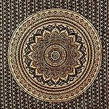 MOMOMUS Arazzo Mandala - 100% Cotone, Grande, Multiuso - Telo Arredo Copridivano/Copritutto - Copriletto Matrimoniale - Plaid/Gran Foulard per Divano, 210x230cm Oro Nero