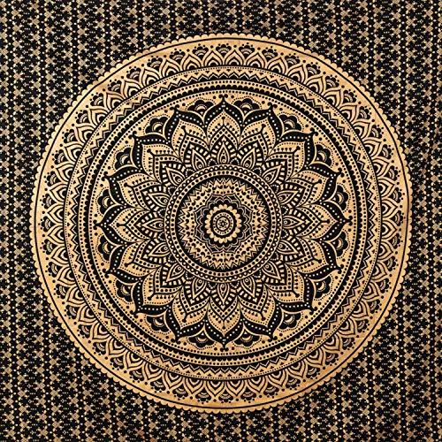 MOMOMUS Wandteppich Mandala - 100% Baumwolle, Groß, Mehrzweck - Bettüberwurf/Sofaüberwurf & Überwurf für Sofa/Couch und Bett - Decke/Plaid/Tagesdecke, 210x230 cm, Schwarz / Gold