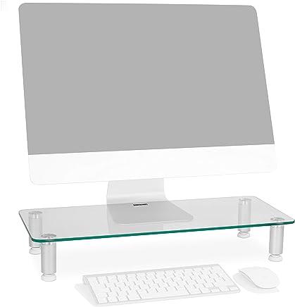 Duronic DM052-1 Soporte Monitor Ajustable, Elevador para Pantalla, Ordenador Portátil, Televisor, Medidas 56x24 cm, Cristal Trasparente, Soporta hasta 40 kg