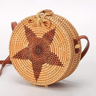 Sturdy Fashion Beach Handbag PU Shoulder Strap Adjustable Length Shoulder Handbag Hand-Woven Rattan Handbag Five-Pointed Star Round Messenger Handbag Large Capacity (Color : Brown)