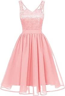 EvoLand Womens Floral Lace Chiffon Wedding Bridesmaid Evening Party Dress