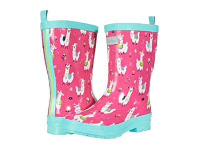 Hatley Kids Pretty Alpacas Shiny Rain Boots (Toddler/Little Kid) (Pink) Girl