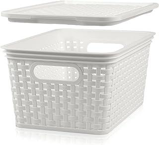 Hausfelder Panier de rangement avec couvercle - Boîte de rangement en forme de panier en rotin (6 x 5 l, blanc)