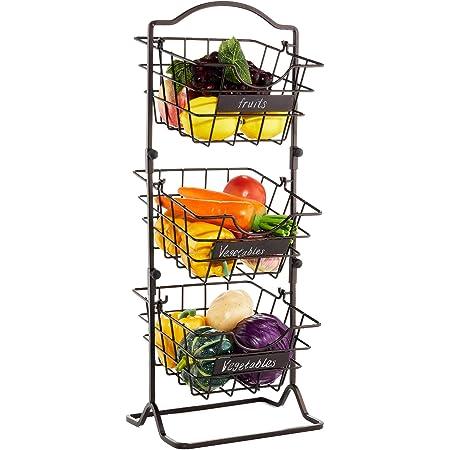 Befano 3 Étages Paniers à Légumes et Fruits, Corbeille à Fruits Suspendus en Métal pour organiser la Cuisine, Les Fruits, Les Légumes, Les Articles de Toilette 25 x 18.5 x 65 cm