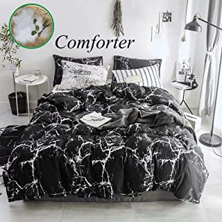 Wellboo Black Marble Comforter Sets Queen Full Black and White Marble Quilts Adults Women Men Bedding Modern Abstract Comforter Cotton Organic Luxury Gothic Chic Warm Soft with 2 Pillowcases