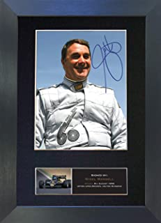 #458 Nigel Mansell Signed Autograph Photo Reproduction Print A4 Rare Perfect Birthday (297 x 210mm) (Black Frame)