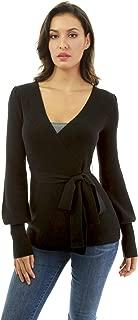 PattyBoutik Women Bishop Sleeve Wrap Sweater