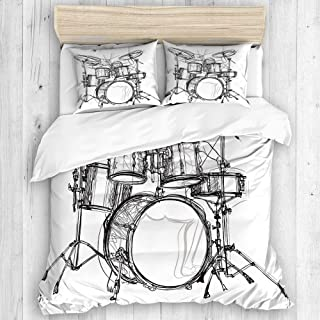 CHANHAAN Duvet Cover Set,Drums Doodle Style Hand Drawn Colorful Tones Abstract Hippie Punk Indie Pop Melody Theme,Decorative 3 Piece Bedding Set with 2 Pillow Shams Twin Size