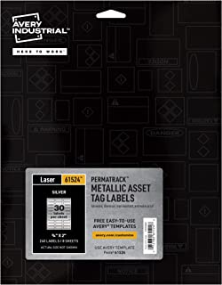 """Avery PermaTrack Metallic Asset Tag Labels for Laser Printers, 3/4"""" x 2"""", 240 Labels (61524)"""
