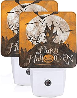 2Pc Vintage Halloween Night Led Night Light with Auto Dusk to Dawn Sensor Night Light Plug in LED Bed Lamp for Kids Girls Baby Boys Adults Room