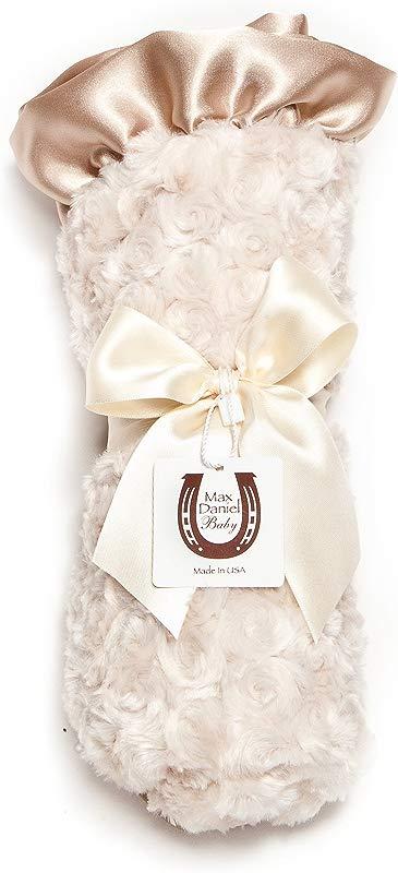 Max Daniel Baby Satin Throw Blanket Champagne Rosebuds