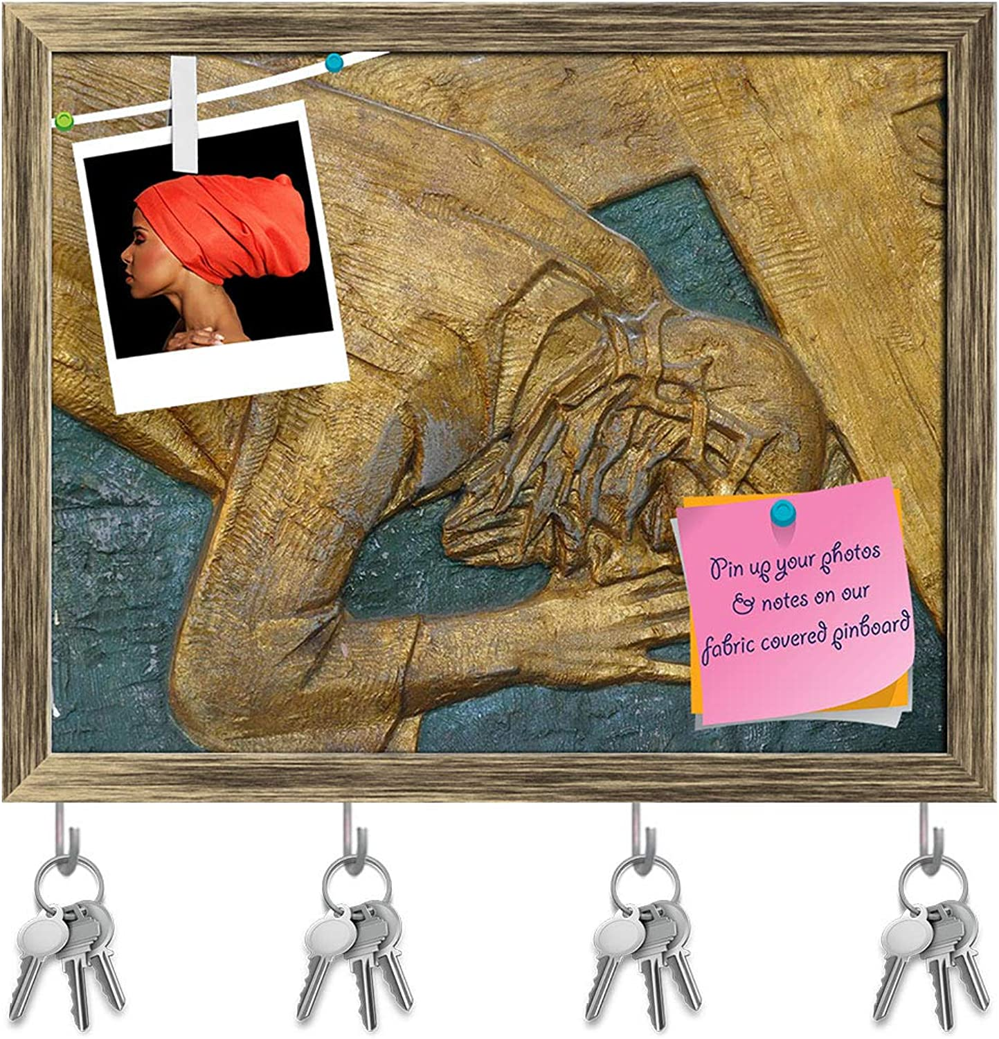 Artzfolio 7Th Station of Cross Jesus Falls The Second Time D2 Key Holder Hooks   Notice Pin Board   Antique golden Frame 15.1 X 12Inch
