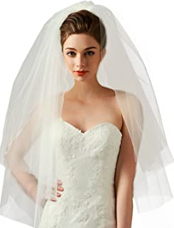 Chady 2 layer White Ivory Length Cut Edge Tulle Bridal Elbow Veil wedding with Comb