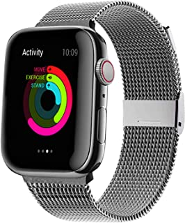 QIENGO Compatible with Apple Watch Band 38mm 40mm 42mm 44mm, Stainless Steel Mesh Loop with Adjustable Magnet Closure Sport Strap Wristband Compatible for iWatch Series 5/4/3/2/1