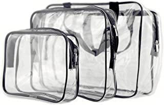 Clear travel toiletry bag set - Makeup bags Waterproof plastic bags with zipper Clear cosmetic bag for storage Pack of 3 P...