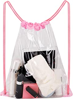 Clear Drawstring Bag, Waterproof PVC Transparent Backpack - Stadium Security Approved (Pink)