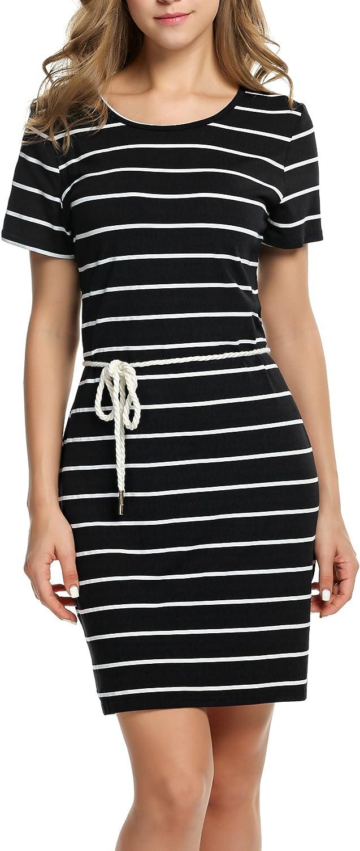 HOTOUCH Women's Nightgown Striped Sleepshirt Short Sleeve Pajamas Lounge Sleepwear SXXL