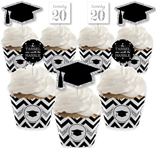 Big Dot of Happiness Silver - Tassel Worth The Hassle - Cupcake Decoration - 2020 Graduation Party Cupcake Wrappers and Treat Picks Kit - Set of 24