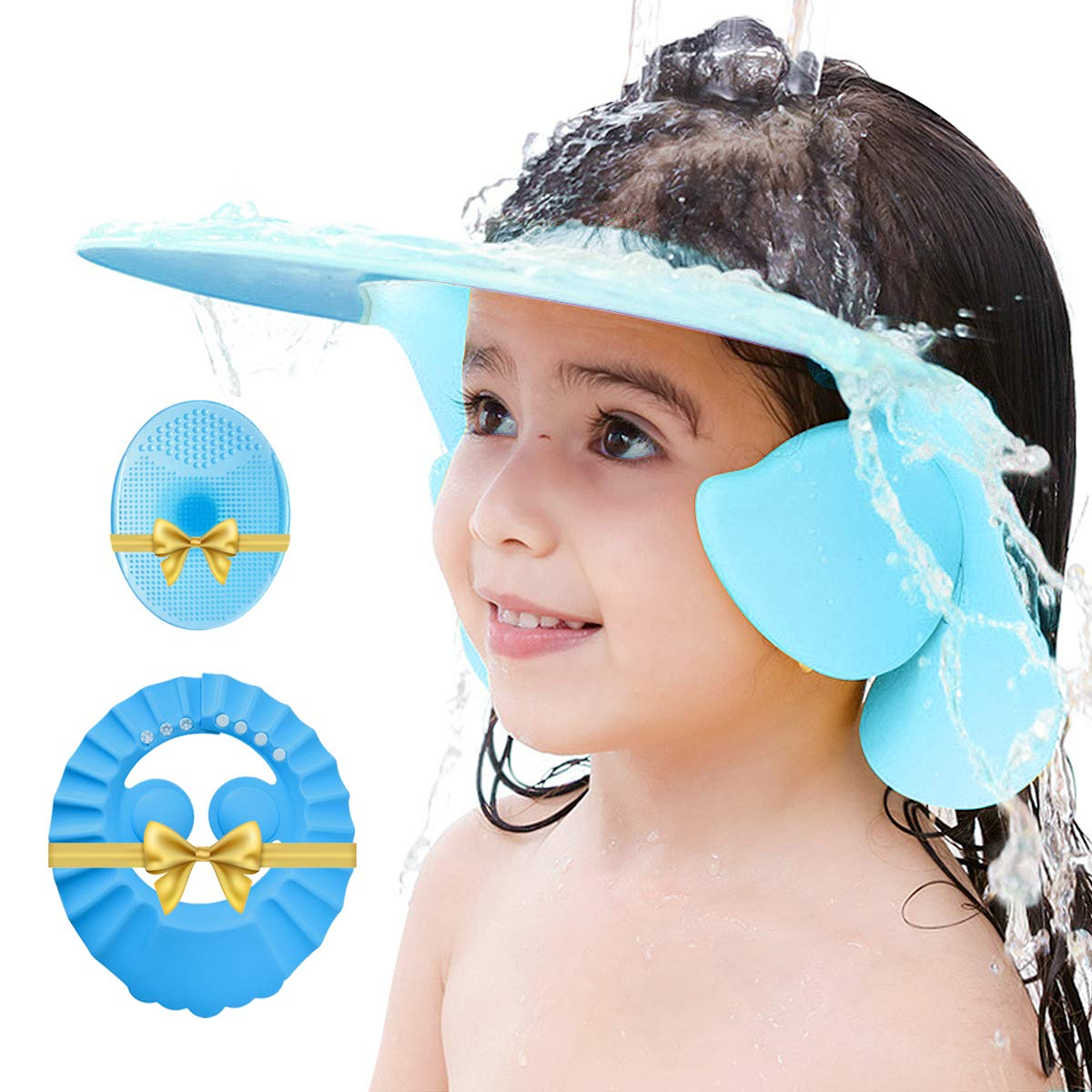Baby Shower Cap, 3pcs Set Adjustable Silicone Shampoo Bath Cap Safety Visor Bathing Hat and Baby Brush, Protection Bath Cap for Baby Infants Toddlers Kids Children