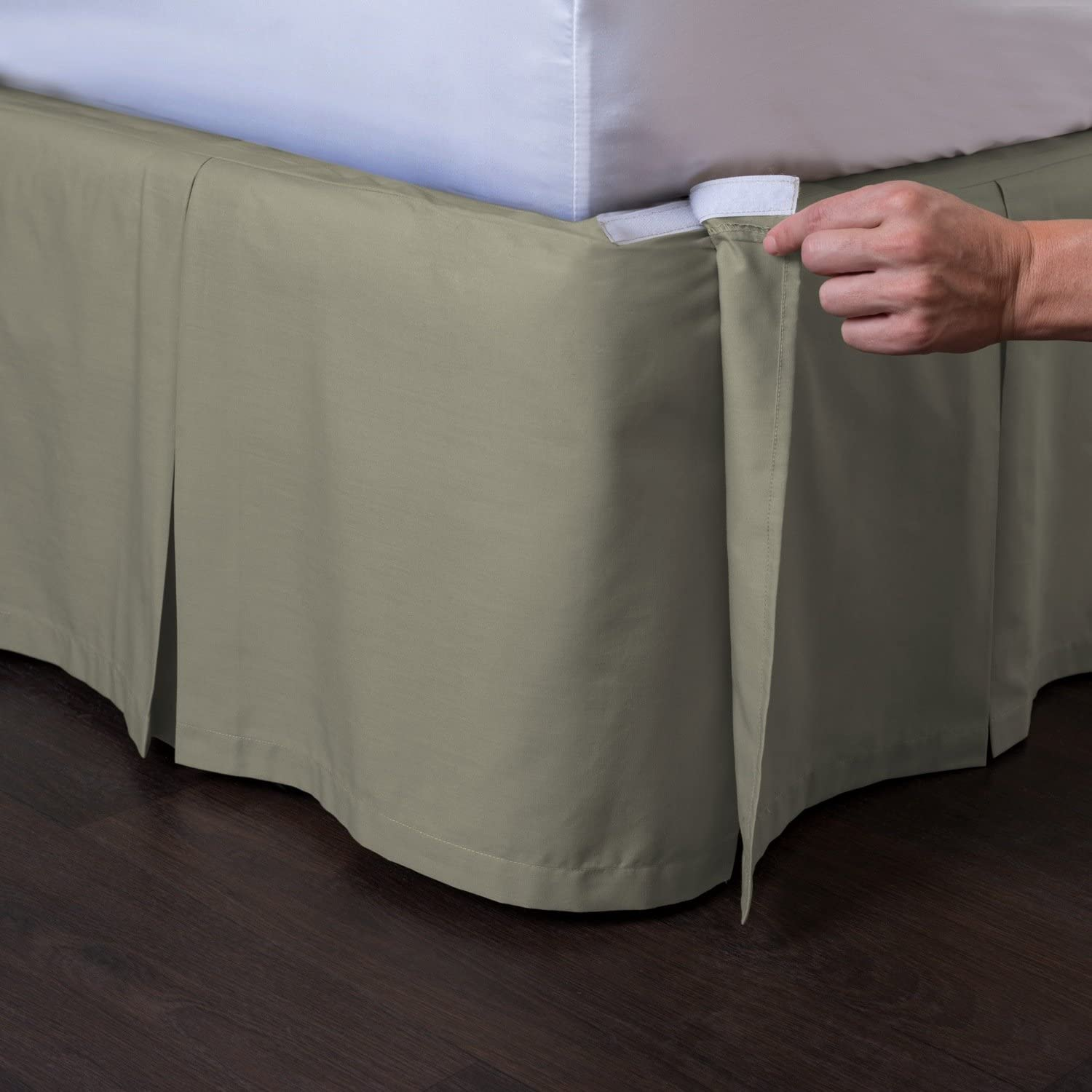 Ashton Detachable Bedskirt (King Size, Sage, 18  Drop) - Easy on Easy Off Pleated Bed Skirt - by ShopBedding