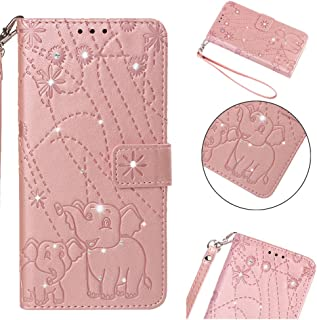 iPhone 8 Plus Case, iPhone 7 Plus Case, iPhone 6S Plus Case, iPhone 6 Plus Case,ZERMU 3D Bling Shiny Diamond PU Leather Firework Elephant Wallet Case with Kickstand Card Holder ID Slot and Hand Strap