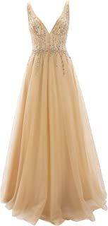 Women V Neck Beaded Tulle Long Prom Dresses Wedding Party Ball Gown