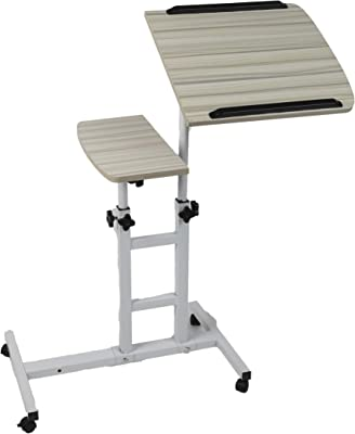 Mind Reader Variable Height Rolling Standing Desk Home Office Laptop Workstation Locking Wheels Adjustable Angle, White, Wood