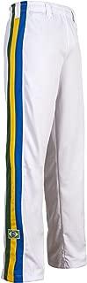 Authentic Brazilian Capoeira Martial Arts Pants - Unisex (White with Brazil National Colors on Vertical Leg Stripes)