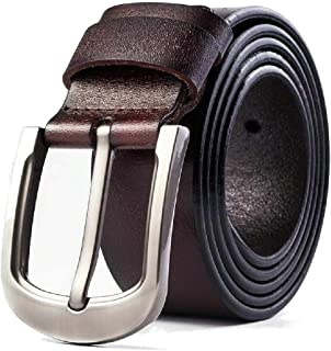 Men's Leather Belt 100% Full Grain Genuine Thick Leather with Anti-Scratch Pin Buckle Great for Jeans, Casual, Formal, Wor...
