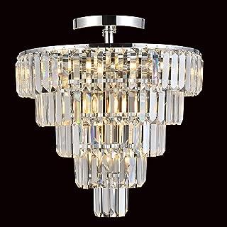 MonDaufie Modern Crystal Chandelier 10 Lights Dimmable Pendant Ceiling Lighting Fixture Semi Flush Mount Ceiling Light for Living Room Bedroom Dining Room,D20''xH20.5'',Chrome Finish