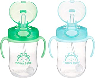 Amazon Brand - Mama Bear Weighted Straw Sippy Cup (Pack of 2)