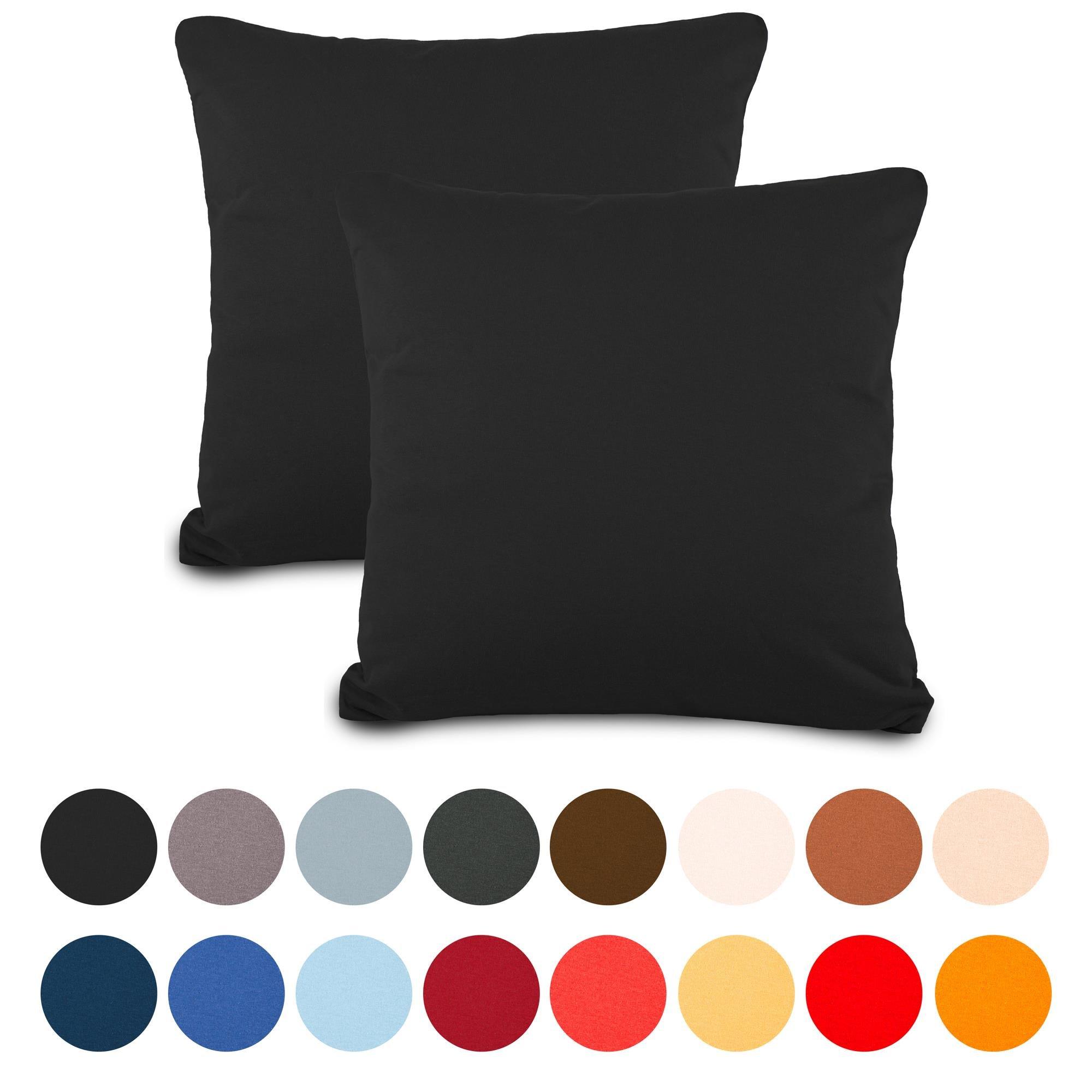 aqua-textil Classic Line Funda de cojín, algodón, Negro, Doppelpack 80 x 80 cm, 2: Amazon.es: Hogar