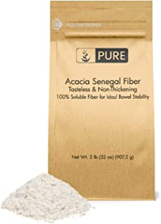 Acacia Fiber (2 lb) by Pure Organic Ingredients, Instantly Soluble to Aid Intestinal Regularity and Bowel Motility, Prebiotic, Medicinal Food to Relieve Diarrhea and Constipation.