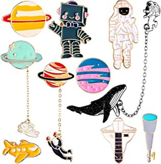 10 Pieces Enamel Pin Set Cartoon Lapel Brooch Space Badge Pin for Clothes Bag Jacket Backpack Decoration (Style Set 1)