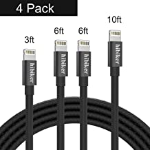 iPhone Charger Cable,Hibiker Lightning Cable 4Pack(3/6/6/10FT)Long Nylon Braided USB iPhone Data Cable Fast Charging Cord Compatible iPhone XS/MAX/XR/X/8/7/6/iPad/iPod (Black)