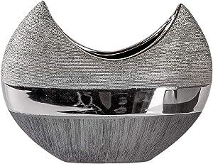 Jarrón Decorativo (Luxor B. 26cm H. 20cm Plata Gris ovalada cerámica Formano