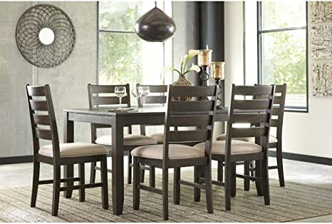 Amazon Com Signature Design By Ashley Rokane Dining Room Table Set With 6 Upholstered Chairs Brown Table Chair Sets