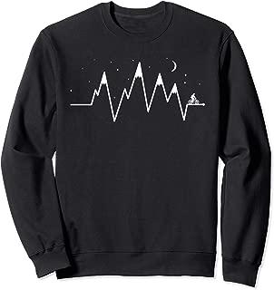 Bike EKG Heartbeat Mountain Biking Night Sky Minimalist Sweatshirt
