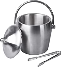 IMEEA Ice Bucket with Tongs Sets Stainless Steel w/Lid Double Walled Small, 40oz/ 1.2L