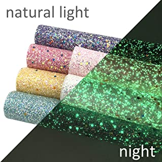 David accessories Glow in The Dark Chunky Crude Glitter Sequins Faux Leather Fabric Sheets 6 Pcs 7.8