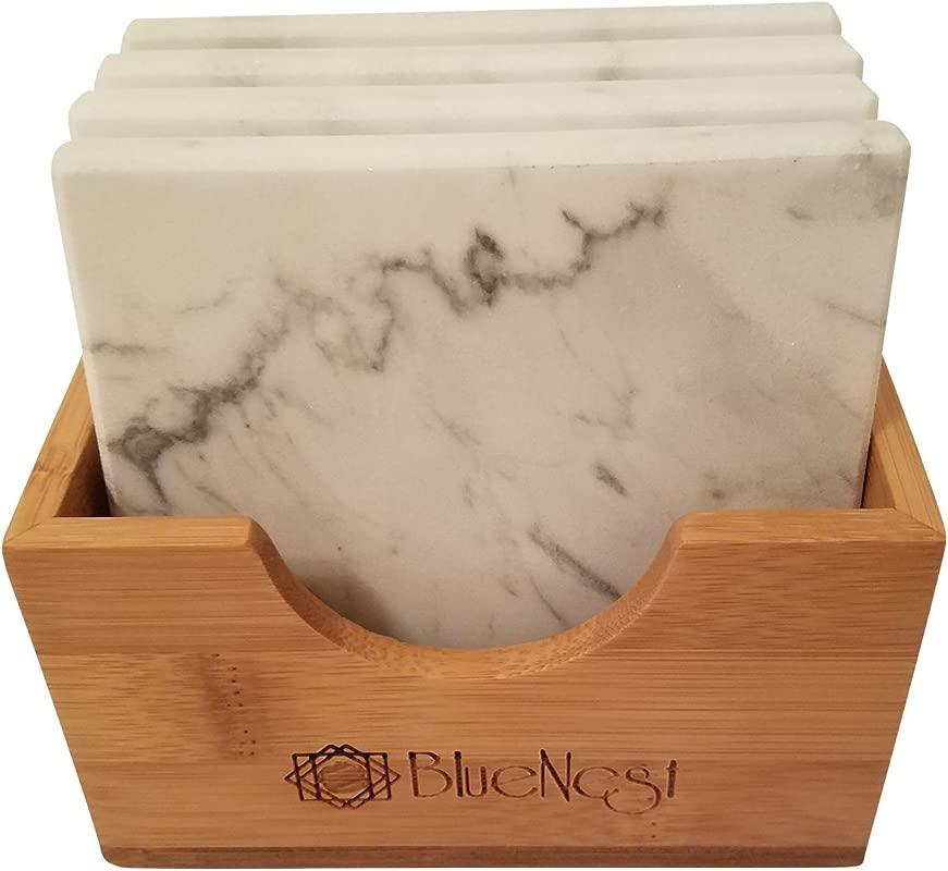Marble Coaster Gift Set With Bamboo Holder Set Of 4 White