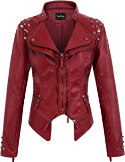 3a88d33fbfb38e chouyatou Women's Fashion Studded Perfectly Shaping Faux Leather Biker  Jacket
