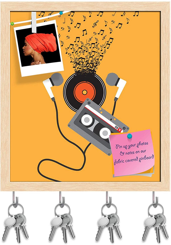 Artzfolio Music Concept Design D13 Key Holder Hooks   Notice Pin Board   Natural Brown Frame 16 X 18Inch